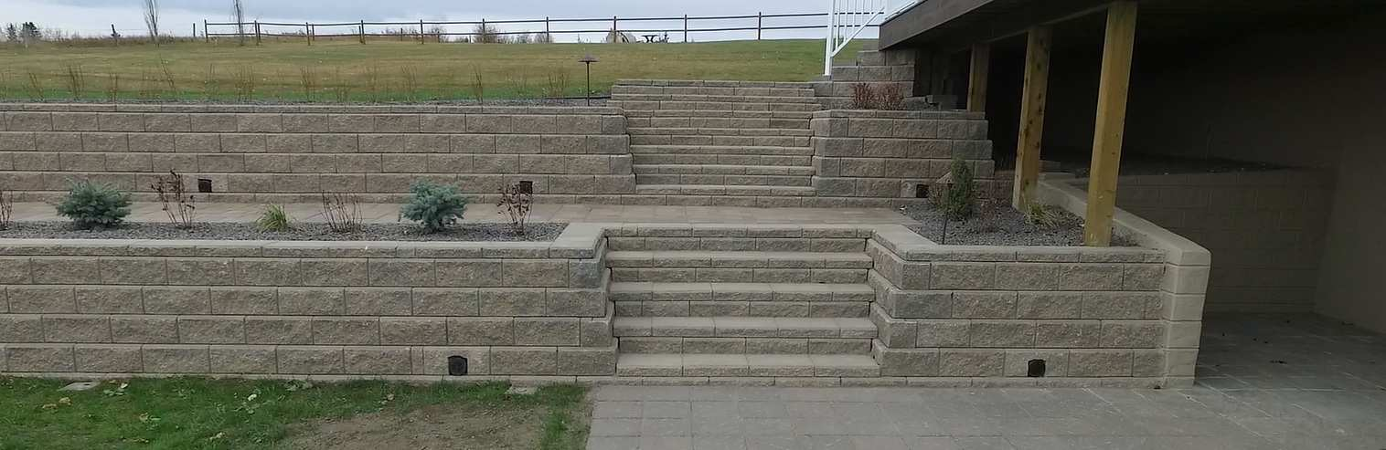 Built with perfection! wide stair steps with zero maintenance flowerbeds